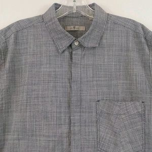 Men's 7 For All Mankind Navy Blue Check Shirt L
